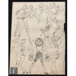 ALBERT WAINWRIGHT (1898-1943) - A sketch showing studies of characters playing musical instruments