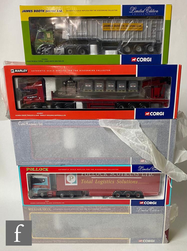 Five Corgi 1:50 scale diecast models, comprising CC12217 Marley Building Materials Scania Crane