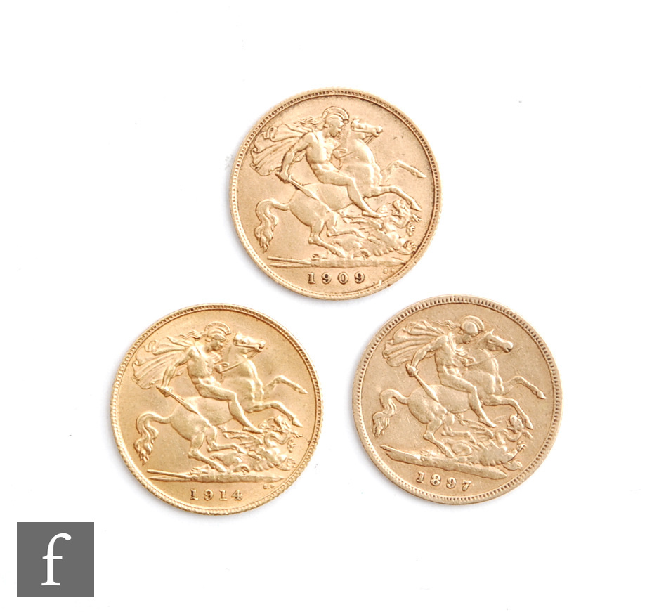 Three Victorian to George V half sovereigns dated 1897, 1909 and 1914. (3) - Image 2 of 2