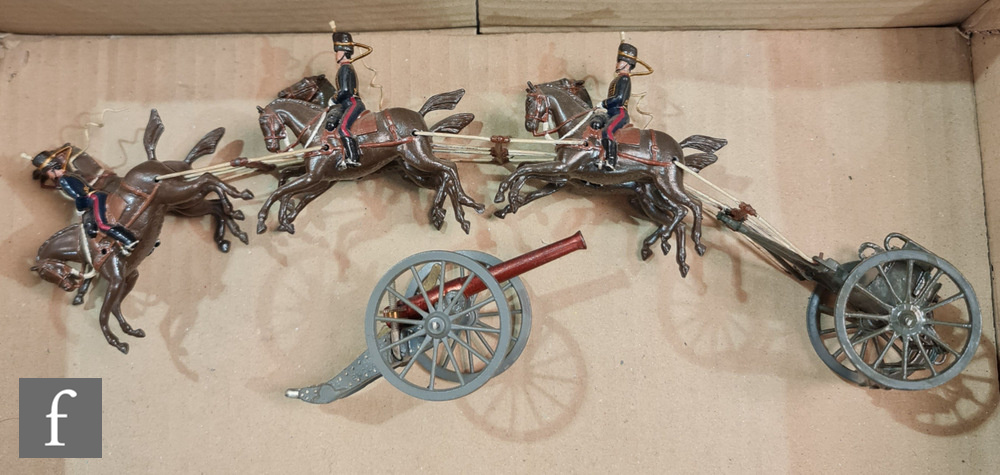 A Britains Set 144 Royal Field Artillery comprising three team horses, three team horses with