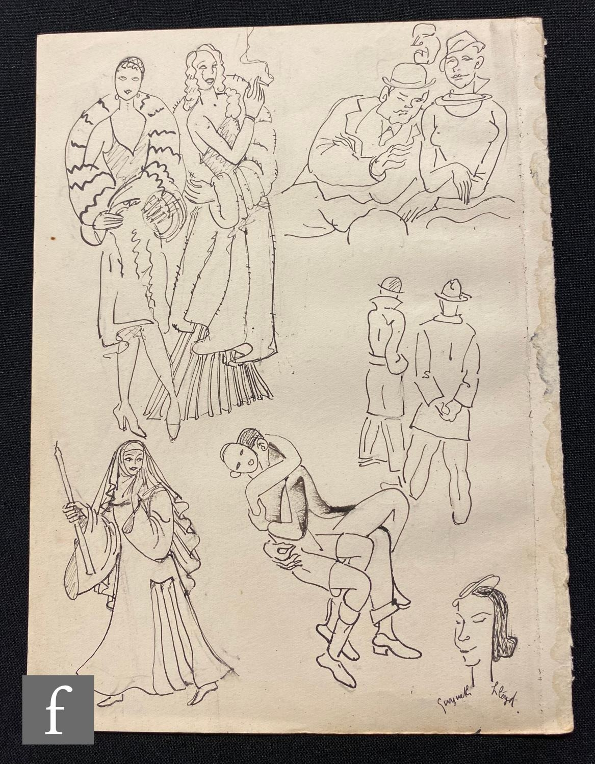 ALBERT WAINWRIGHT (1898-1943) - A study of figures including fashionable ladies in evening dress and