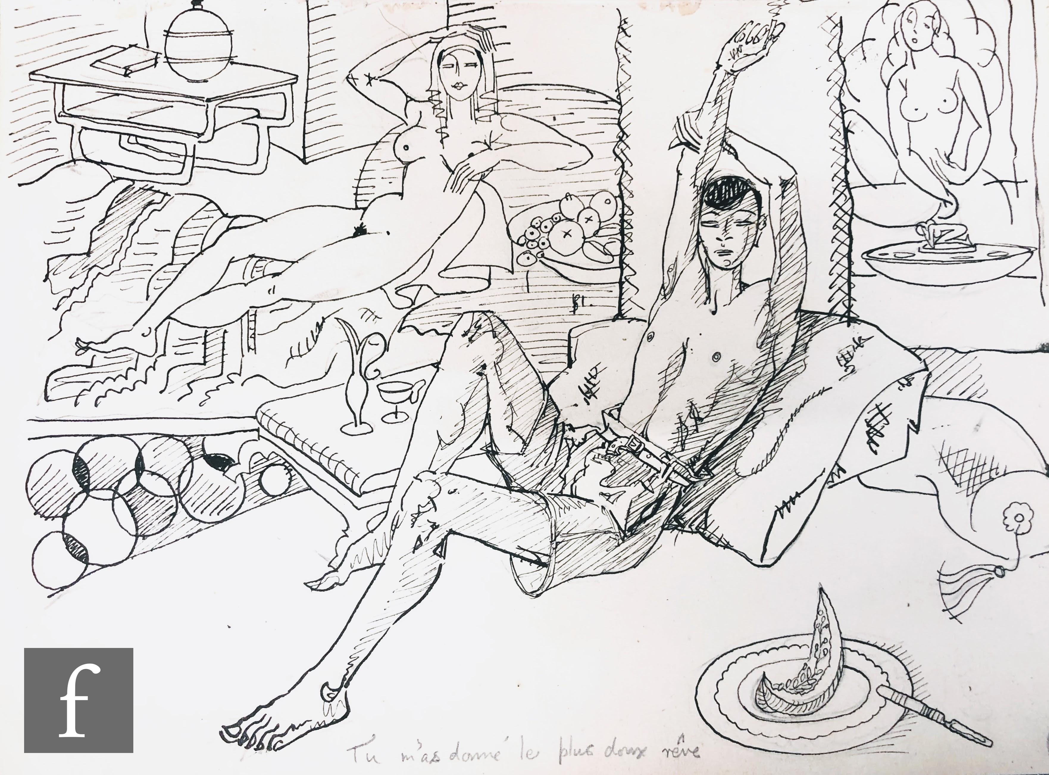 ALBERT WAINWRIGHT (1898-1943) - A study depicting a reclining semi nude young man resting on