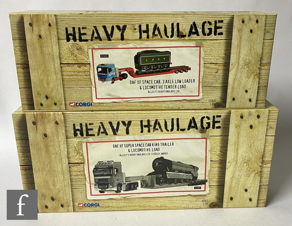 Two Corgi Heavy Haulage Allely's Heavy Haulge Ltd 1:50 scale diecast models, comprising CC13203