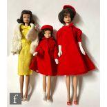 A collection of three 1960s Mattel Barbie dolls, comprising a brunette bubblecut (second version)