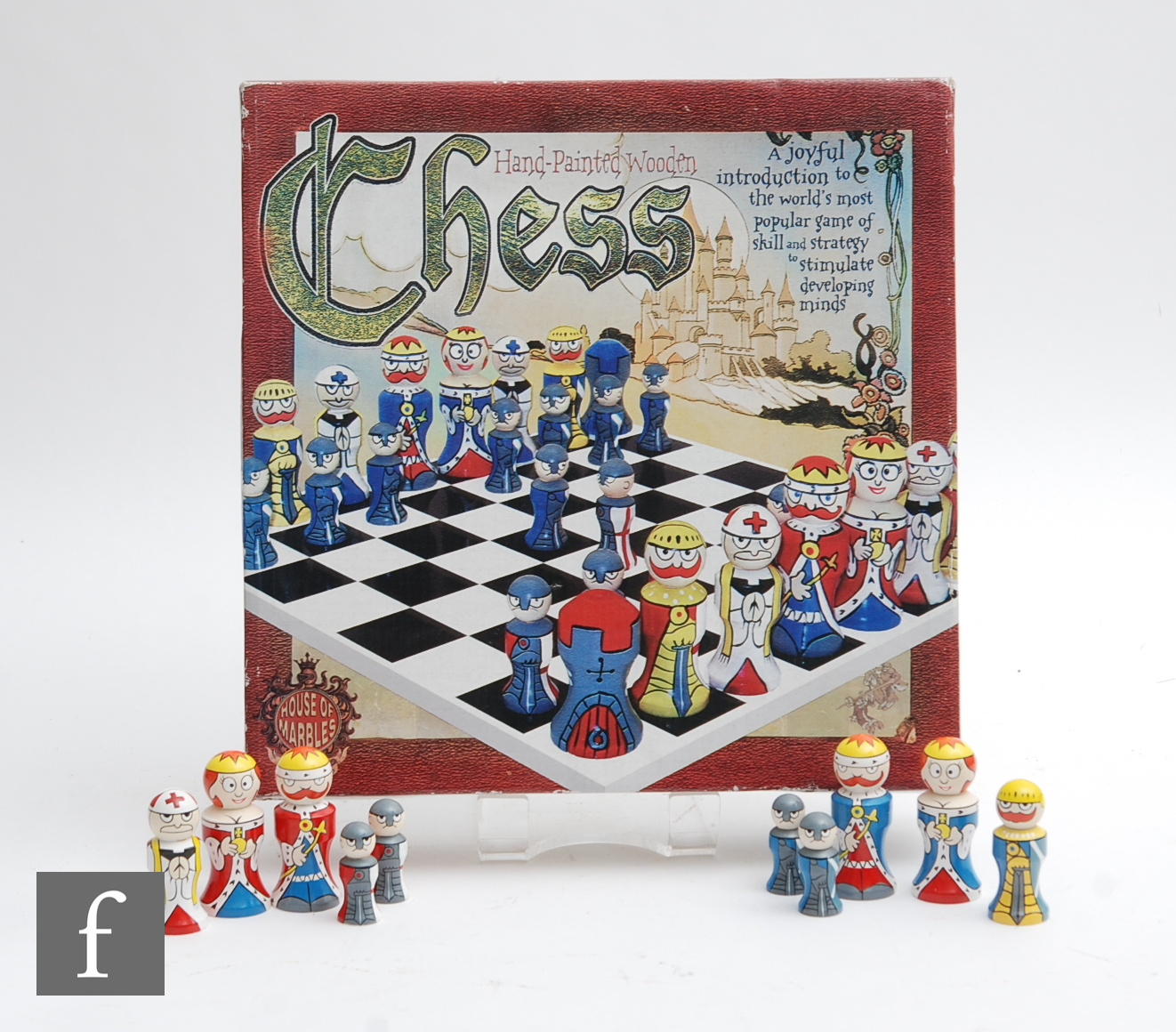 A House of Marbles hand painted wooden chess set, boxed.