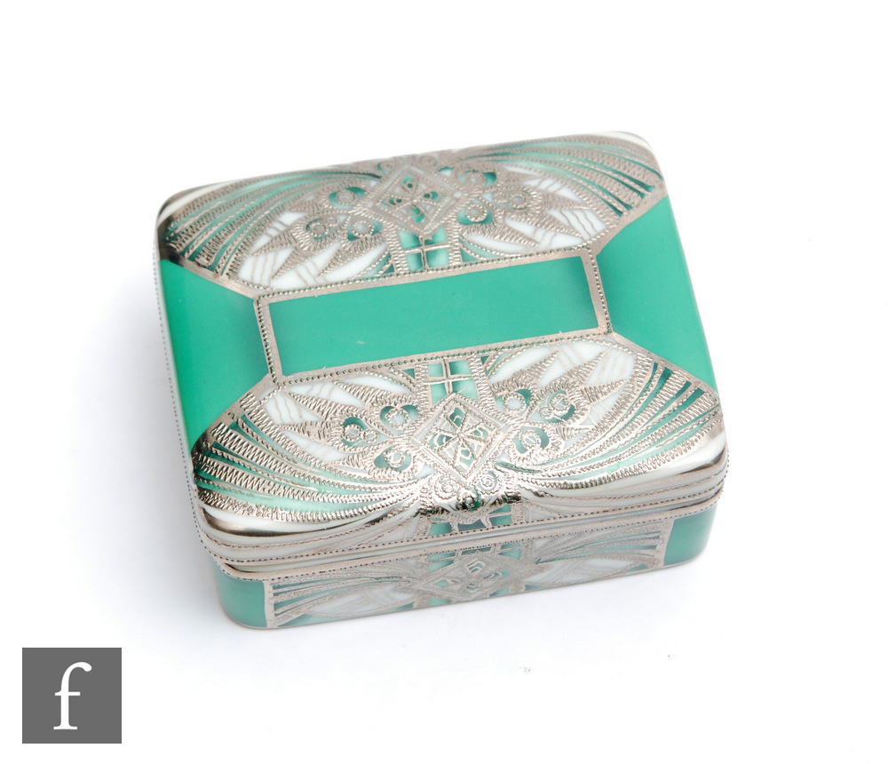 A Noritake rectangular box and cover decorated in the Art Deco style with silver lustre decoration