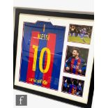 A Barcelona football shirt signed by Messi and three action shots, certificate to reverse, 81cm x