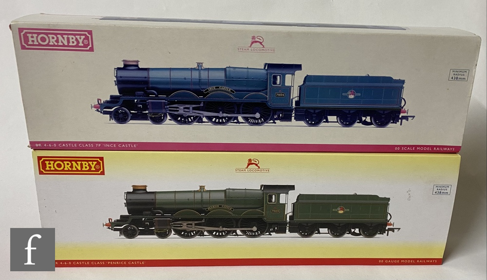 Two OO gauge Hornby Castle Class locomotives, R2850X DCC Fitted 4-6-0 BR green 'Ince Castle', and
