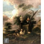 MANNER OFMELCHIOR D'HONDECOETER - Poultry beside an urn in an extensive wooded landscape, oil on