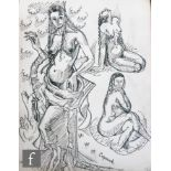 ALBERT WAINWRIGHT (1898-1943) - A study of female nudes in various poses, to the reverse a reclining