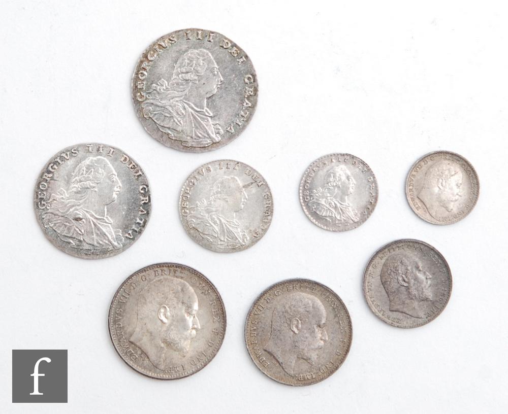 A George III Maundy 1-4 pence, 1795 and to Edward VII 1908 1-4 pence. (8)