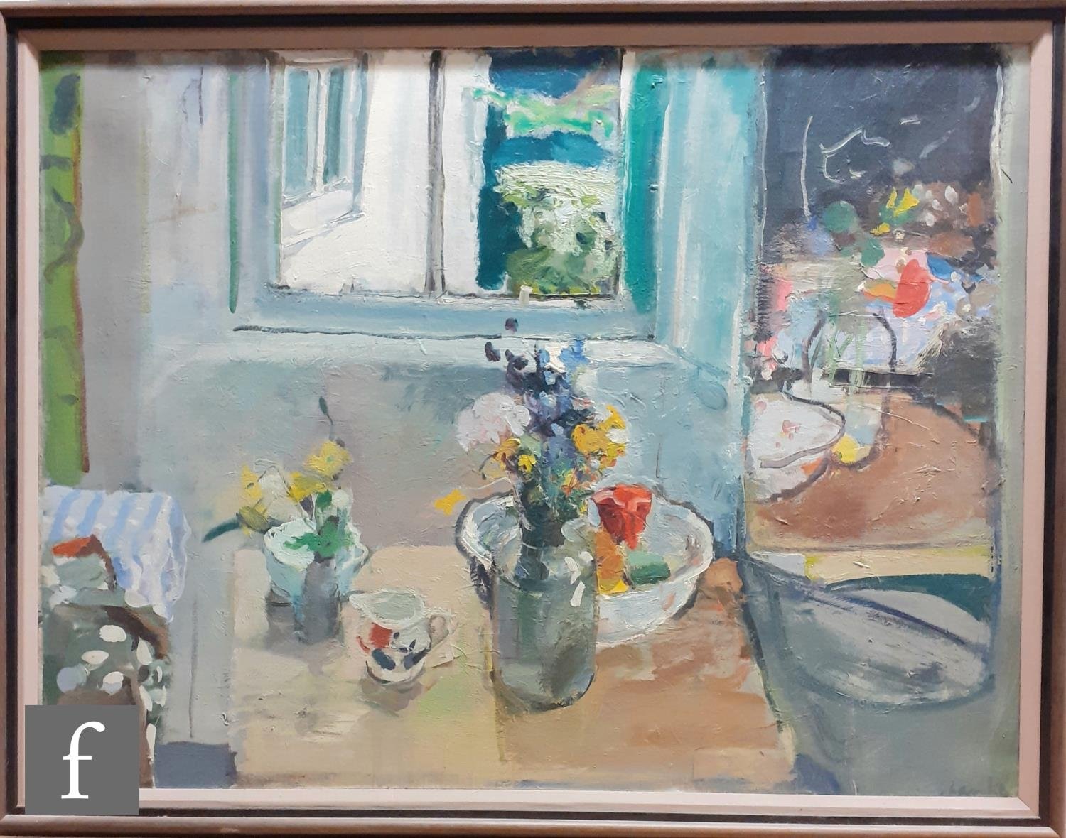 DUNCAN SHANKS, RSA, RSW (B. 1937) - A sunlit interior with vase of flowers and a bowl on a table top