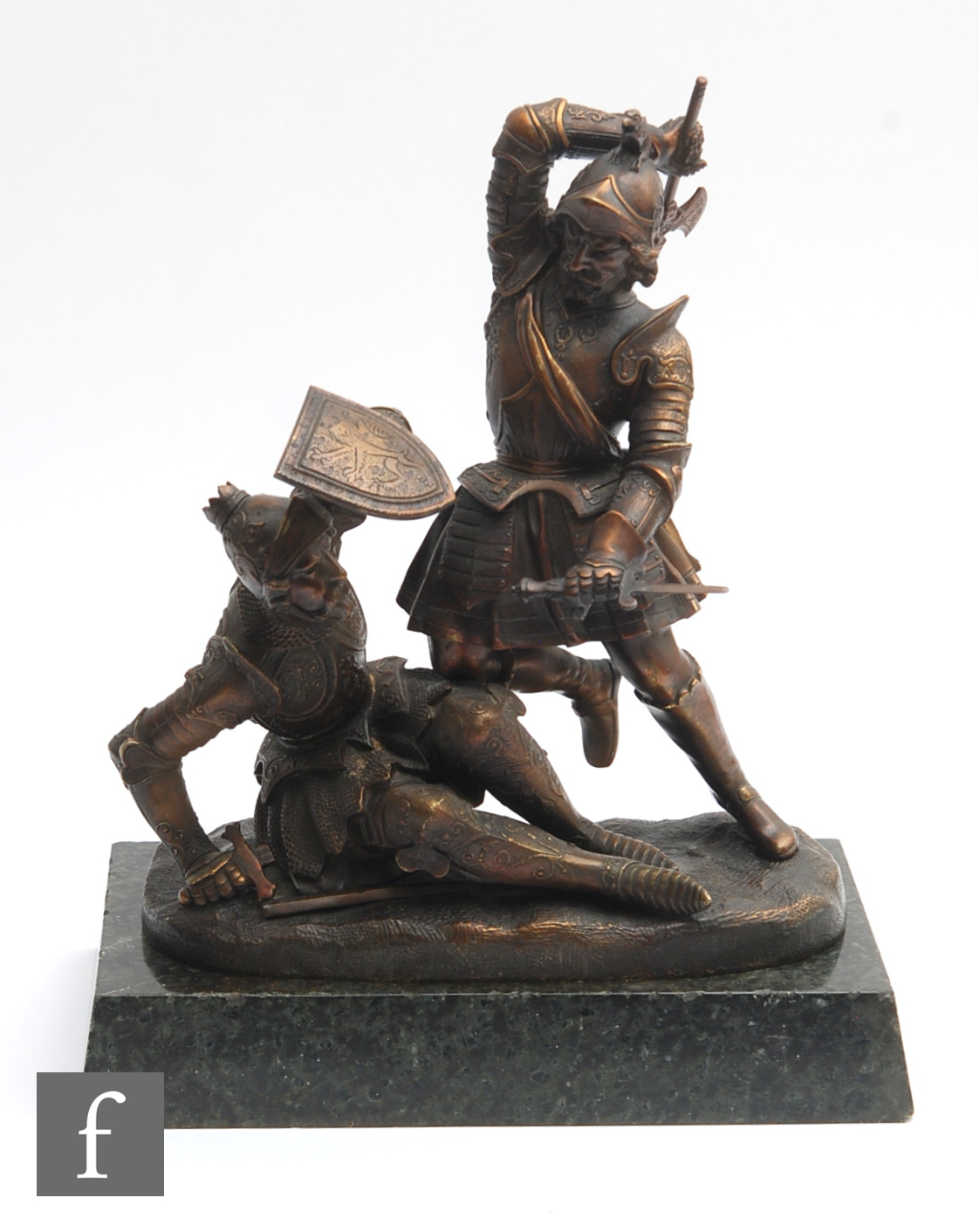 A late 19th to early 20th century German bronze figure of two knights in combat with full armour and