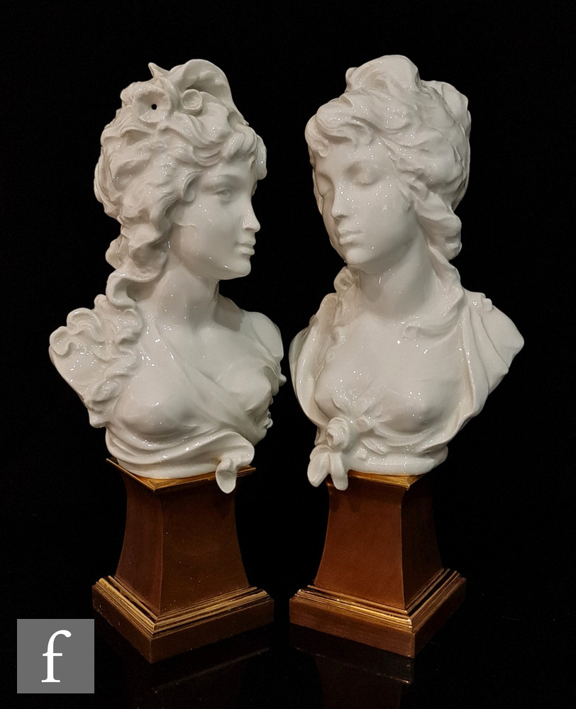 A pair of later 20th Century Royal Worcester busts designed by Arnold Machin O.B.E R.A entitled
