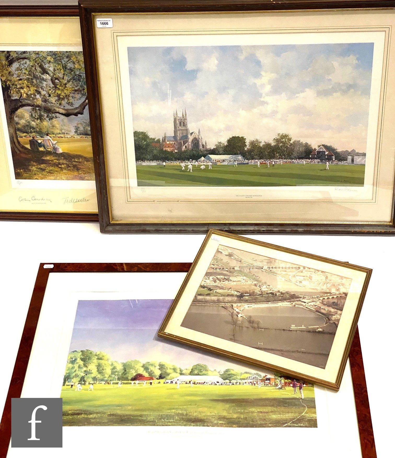 A Worcestershire County Cricket Club print, Centenary at Frogmore 38cm x 60cm, another after Roy
