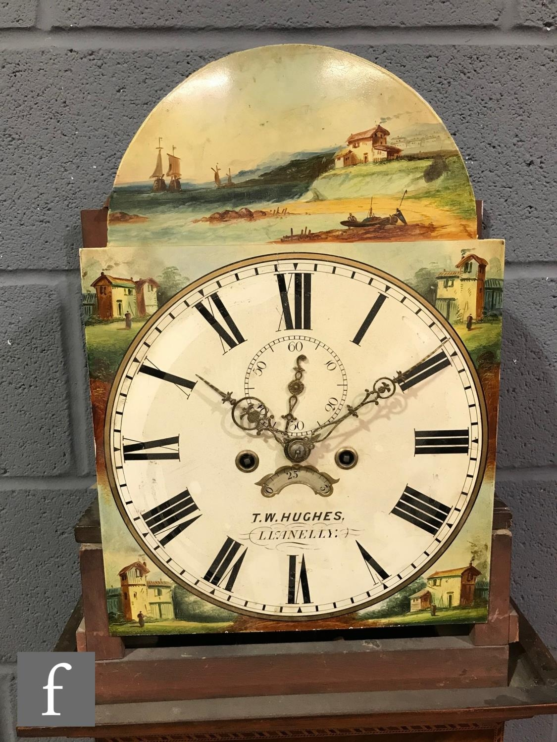 A 19th Century mahogany longcase clock with an eight-day movement striking on a bell, the hood - Image 3 of 5