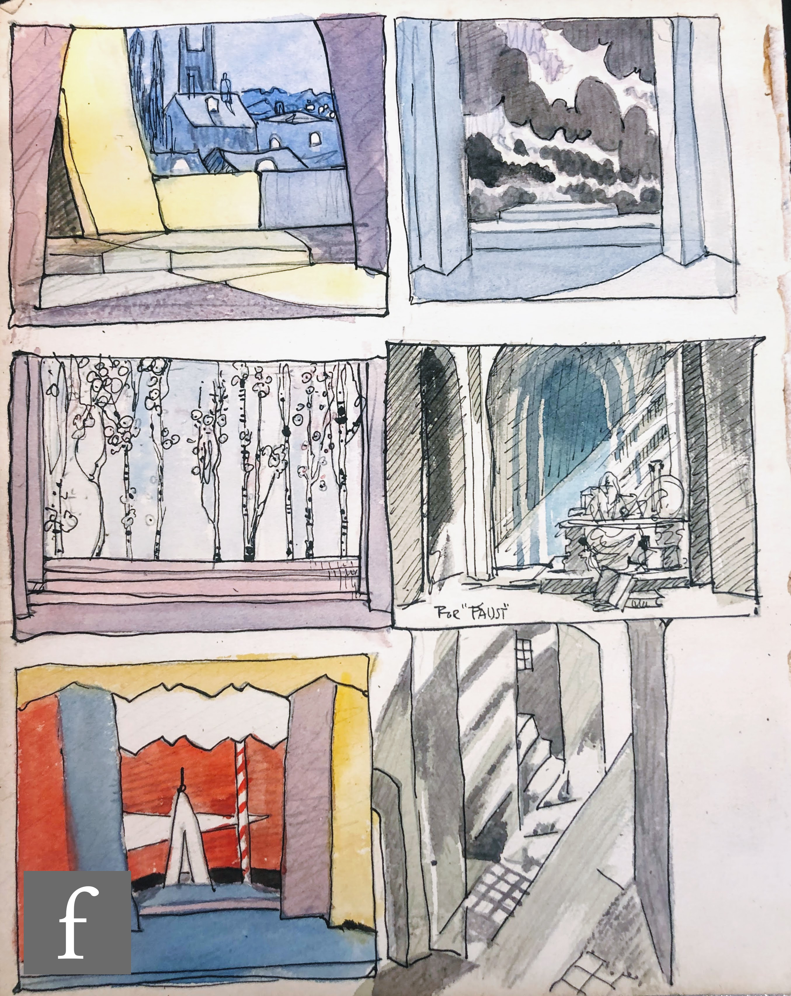 ALBERT WAINWRIGHT (1898-1943) - A group of six stage design studies for Edward II including interior - Image 2 of 2