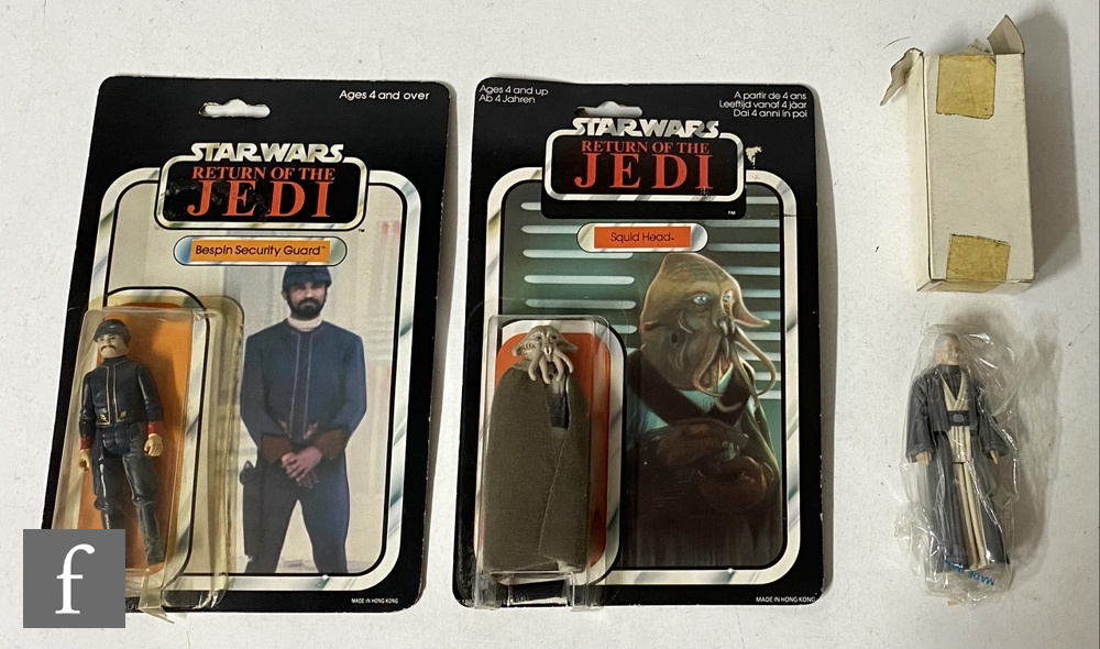 """Three Star Wars 3 3/4"""" action figures, comprising Squid Head on Palitoy 65 back card, Bespin"""