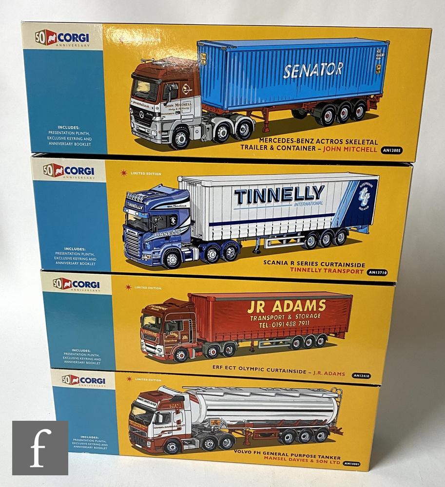 Four Corgi 50th Anniversary Collection diecast models, comprising AN13805 John Mitchell Mercedes-