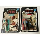 """Two Palitoy Star Wars Return of the Jedi 3 3/4"""" action figures on 65 back cards, Admiral Ackbar"""
