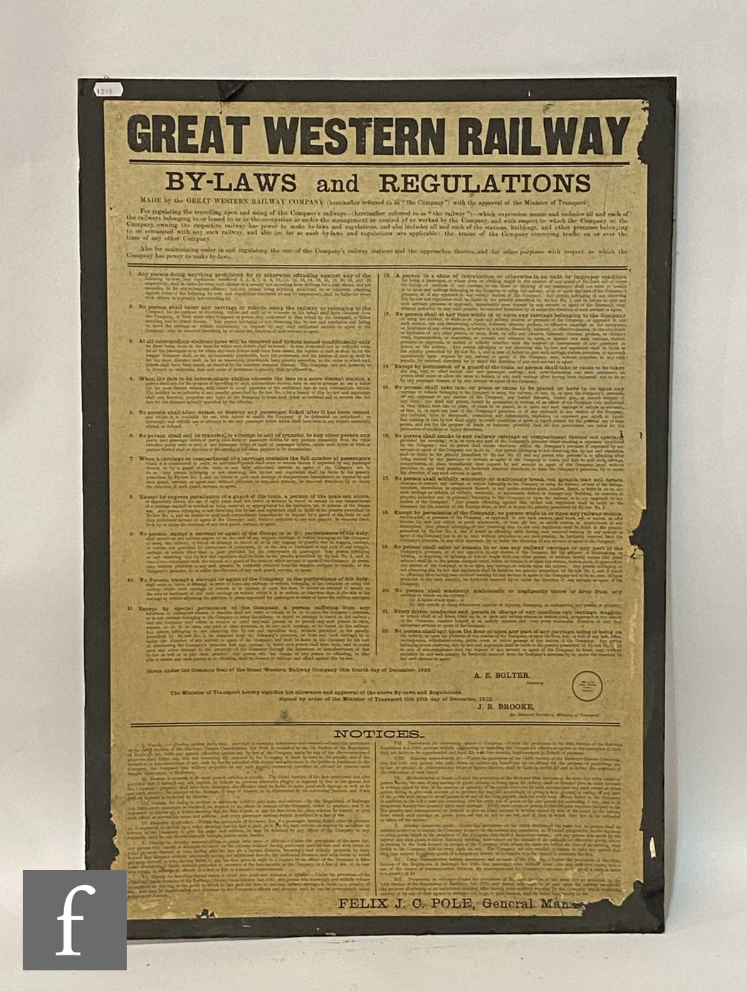 A Great Western railways By-Laws and Regulations display poster, another for Offences and - Image 3 of 3