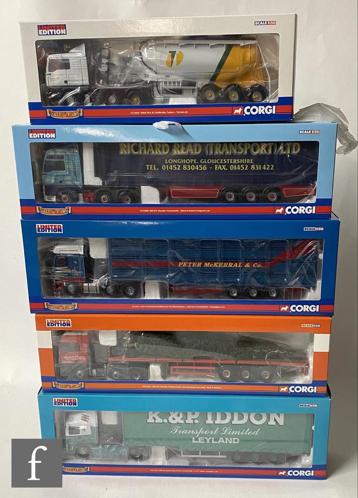 Five Corgi Hauliers of Renown 1:50 scale diecast models, comprising CC11912 K & P Iddon ERF EC