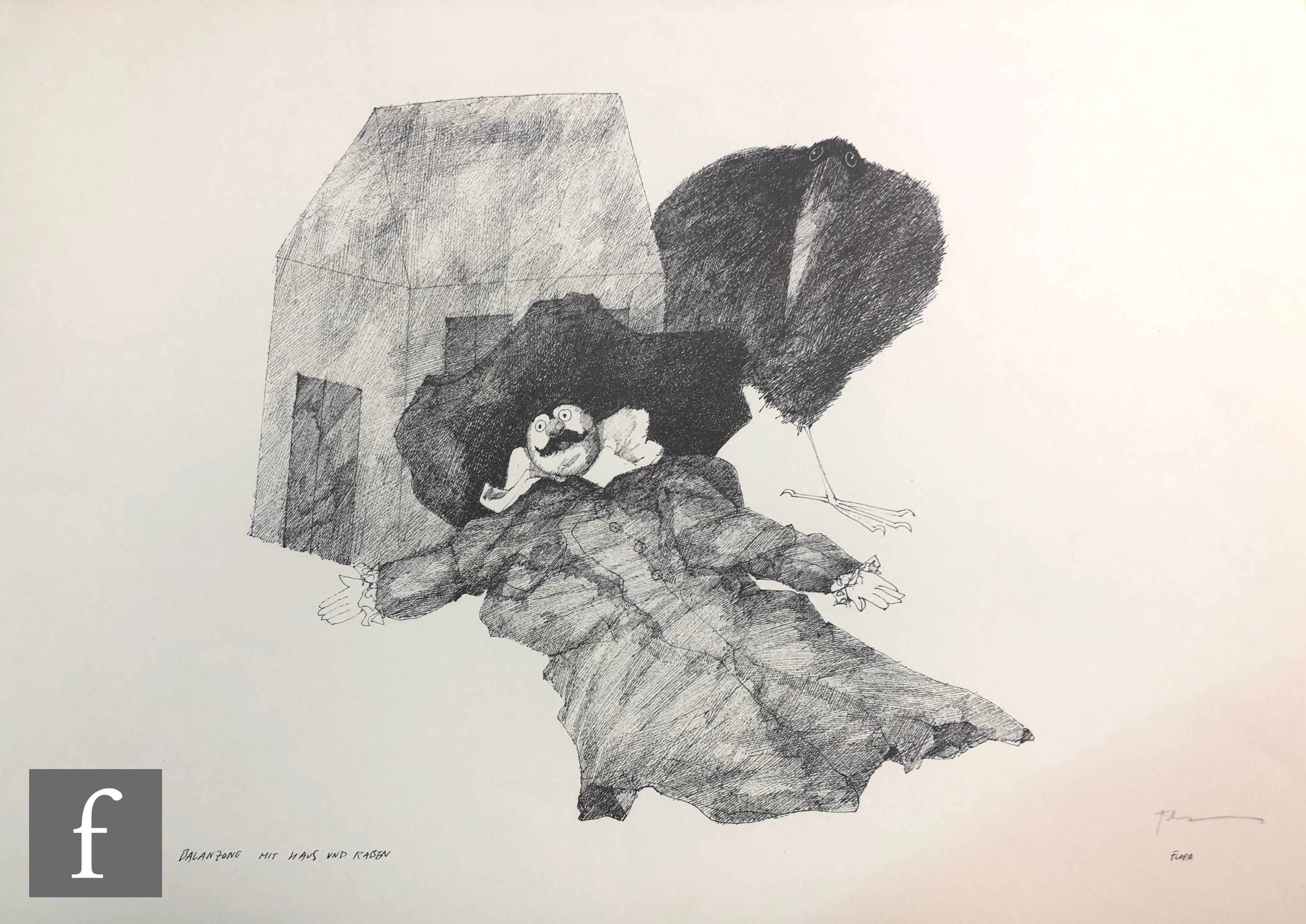 AFTER PAUL FLORA - Die Raben (The Ravens), a set of lithographs in original folder signed and - Image 2 of 4