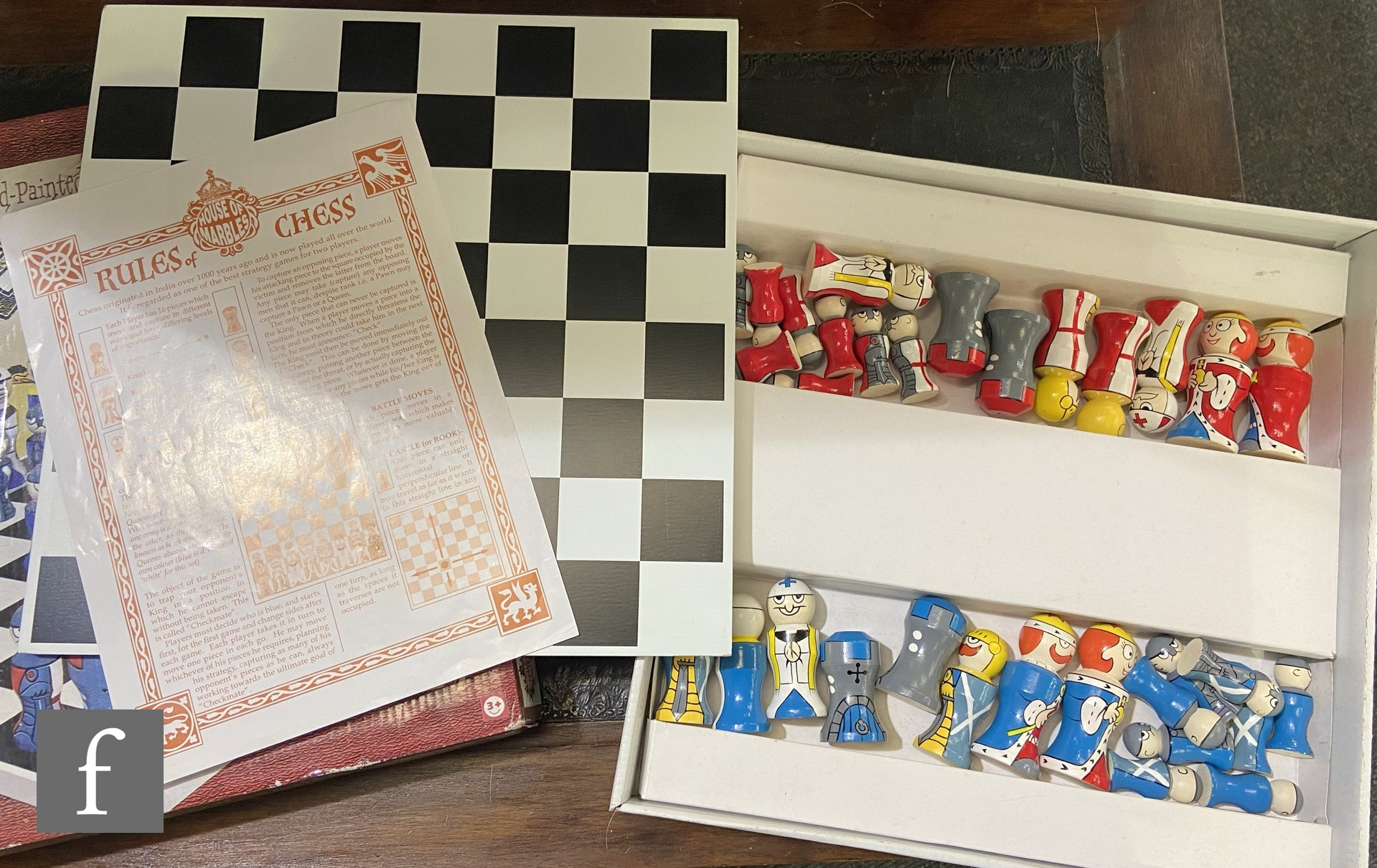 A House of Marbles hand painted wooden chess set, boxed. - Image 2 of 2