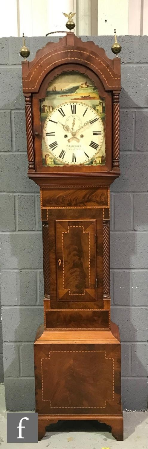 A 19th Century mahogany longcase clock with an eight-day movement striking on a bell, the hood - Image 2 of 5