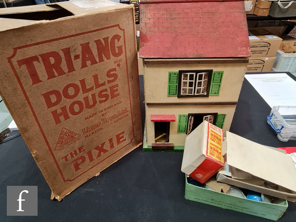 A Triang The Pixie Dolls House, two storey with two rooms and hinged opening, in original box,