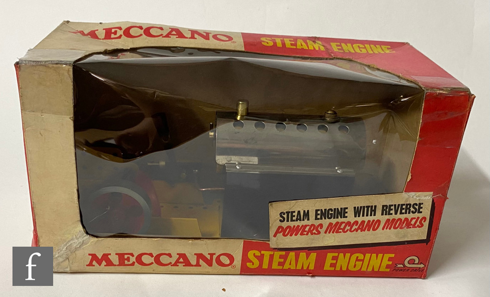 A live steam Meccano Steam Engine, yellow base, boxed.