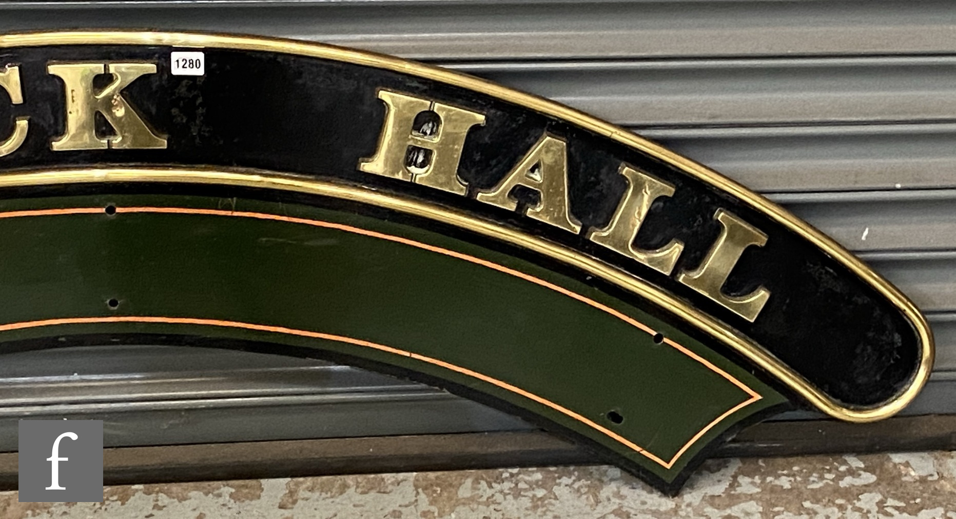 A modified Hall class locomotive brass name plate Parwick Hall, stamped to the rear R 6985 - Image 4 of 8