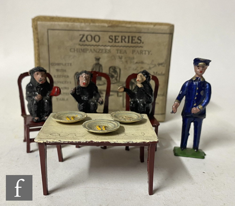 A Taylor & Barrett Zoo Series, Chimpanzees Tea Party set, comprising keeper, three chairs, table,