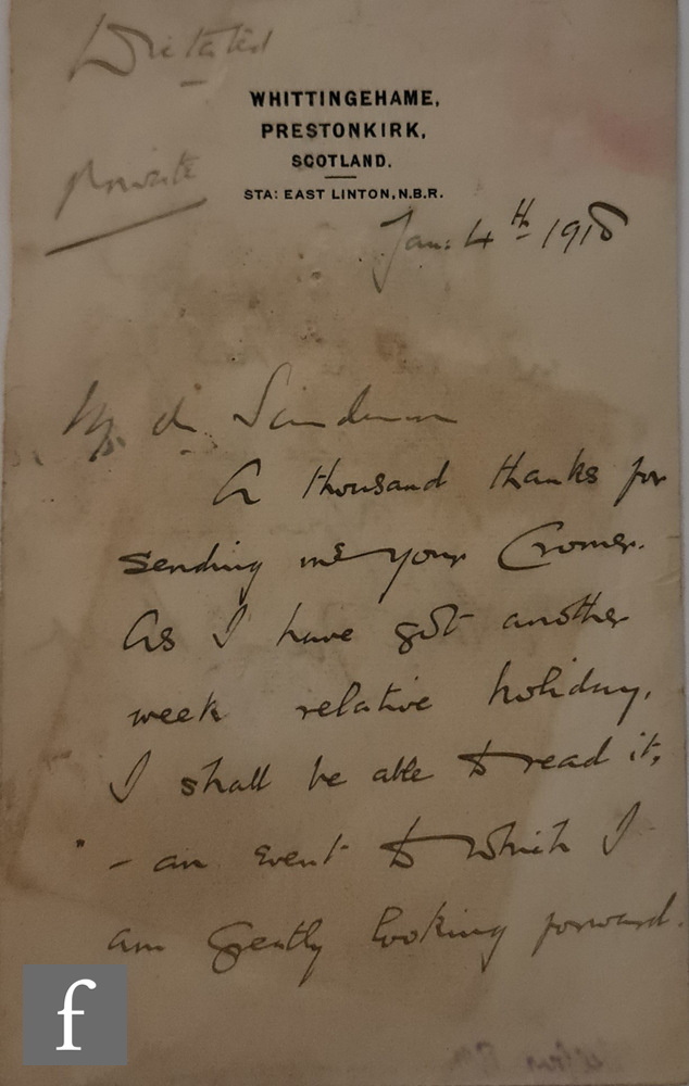 A folder of letters by 19th Century politicians to include Horace Walpole, Arthur James Balfour, - Image 2 of 4