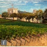 PETER BURDEN (B. 1948) - 'Chateau Beaucaillou, Medoc, France', oil on canvas, signed, inscribed on
