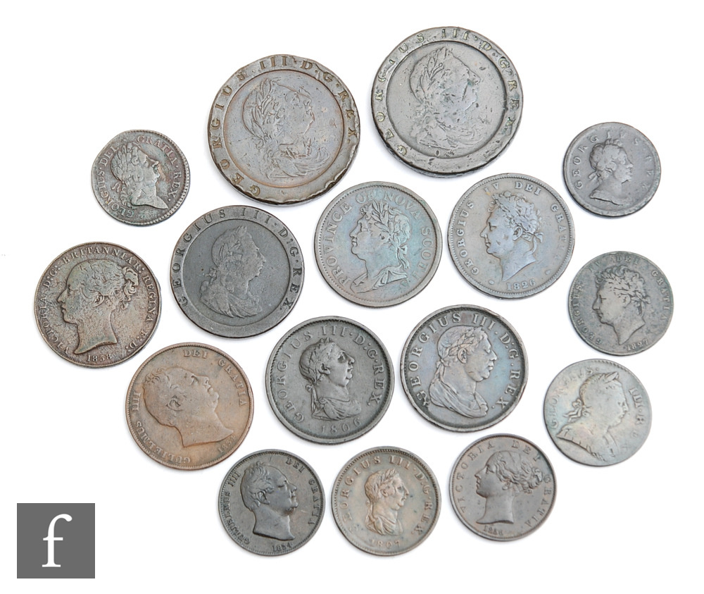 Various George I to Victoria coinage to include 1718 halfpenny, 1723 Hibernian halfpenny, other