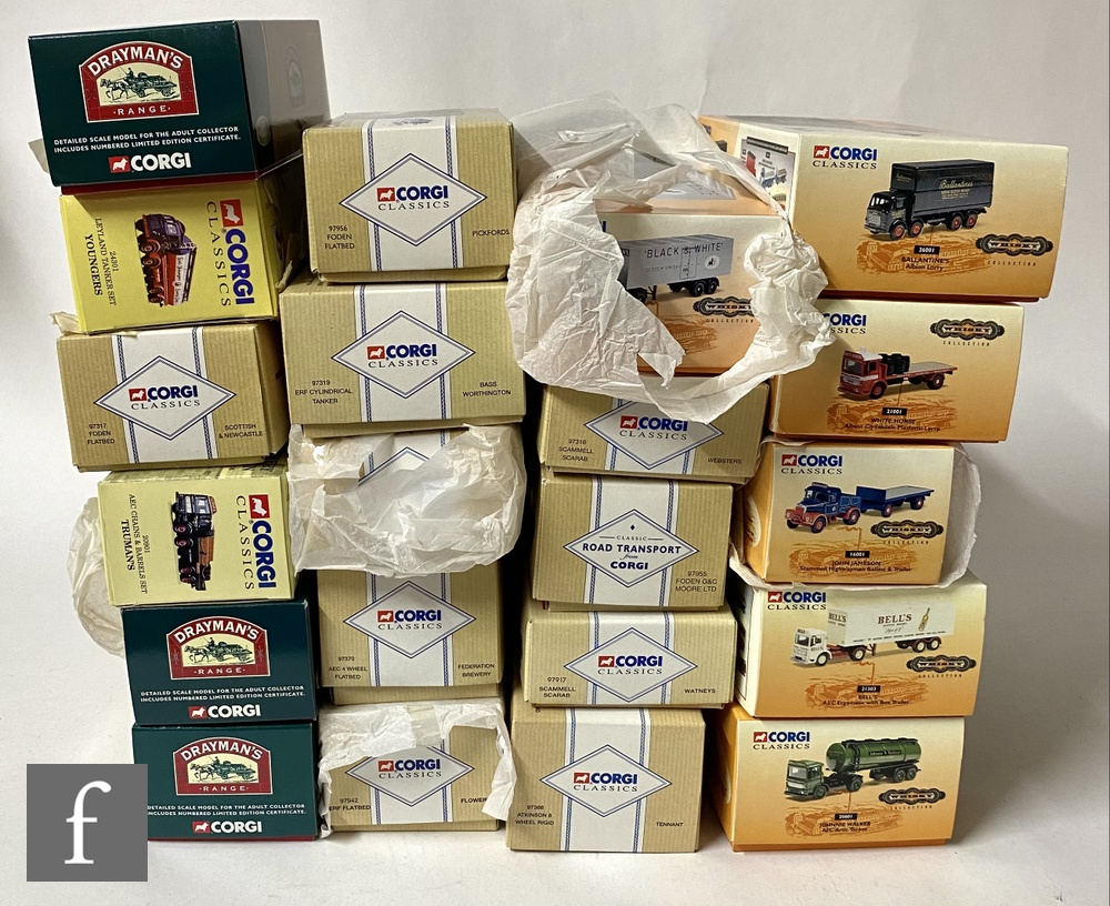 Twenty one Corgi diecast models, mostly brewery and whisky related, to include Drayman's Range,