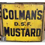 An original Colmans DSF Mustard enameled sign, black on yellow, 92cm x 97cm.