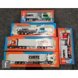 Five Tekno 1:50 scale road transport models, comprising CVRTC 2002 Scania Torpedo with box