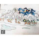 ALBERT WAINWRIGHT (1898-1943) -A sketch depicting a group of young men playing rugby in full scrum,