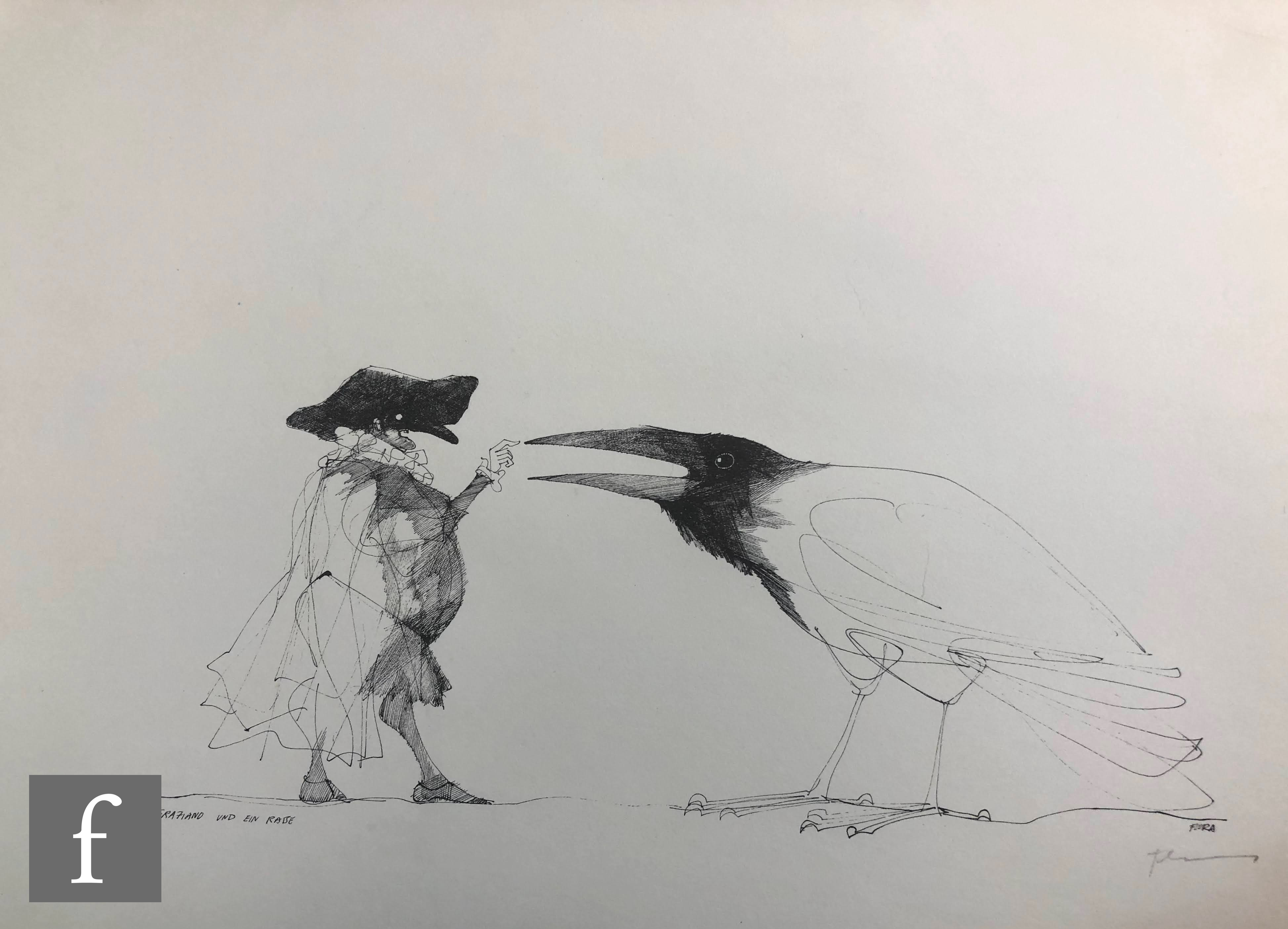 AFTER PAUL FLORA - Die Raben (The Ravens), a set of lithographs in original folder signed and