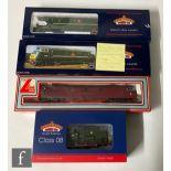 Four OO gauge diesel locomotives, comprising Bachmann 32-120 DCC Ready Class 08 BR green 13287,