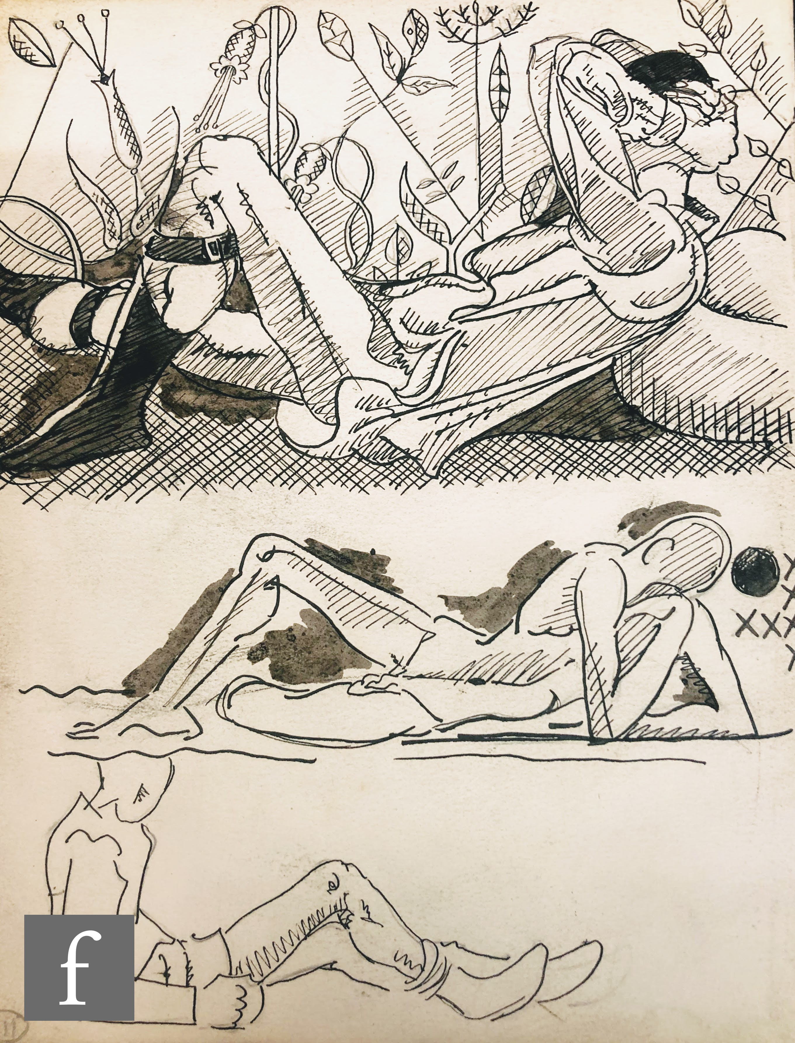 ALBERT WAINWRIGHT (1898-1943) - A study depicting two semi nude young male figures surrounded by - Image 2 of 2