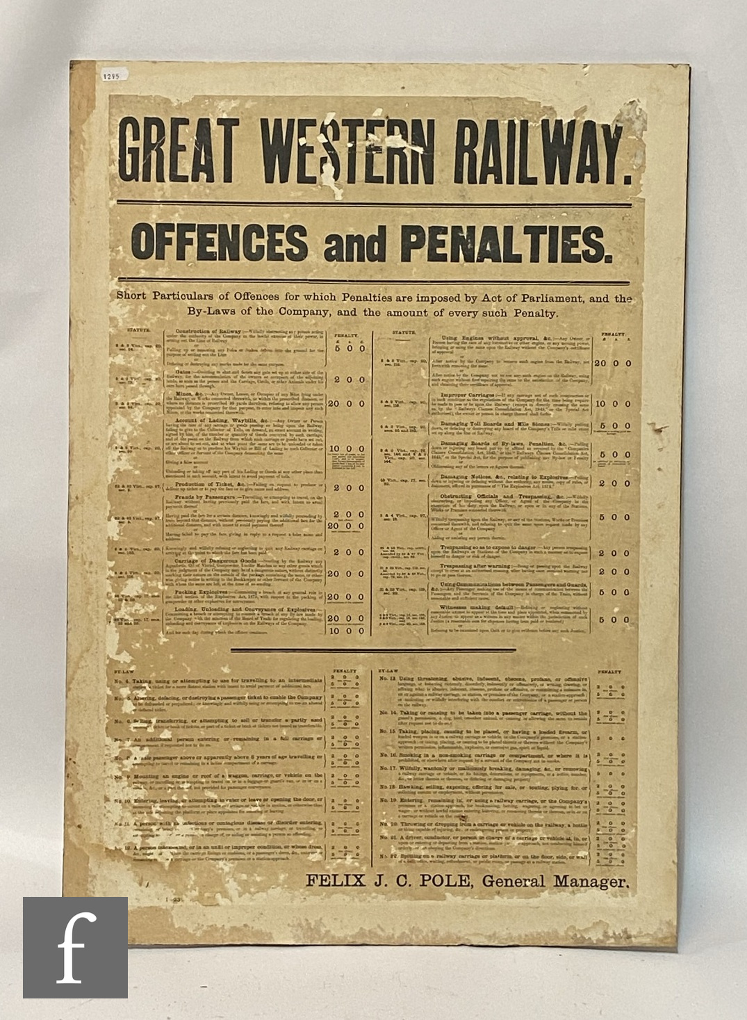 A Great Western railways By-Laws and Regulations display poster, another for Offences and - Image 2 of 3