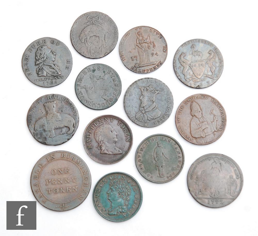 A Frederick Duke of York halfpenny 1795, a 1794 halfpenny, a Manchester promissory halfpenny, a