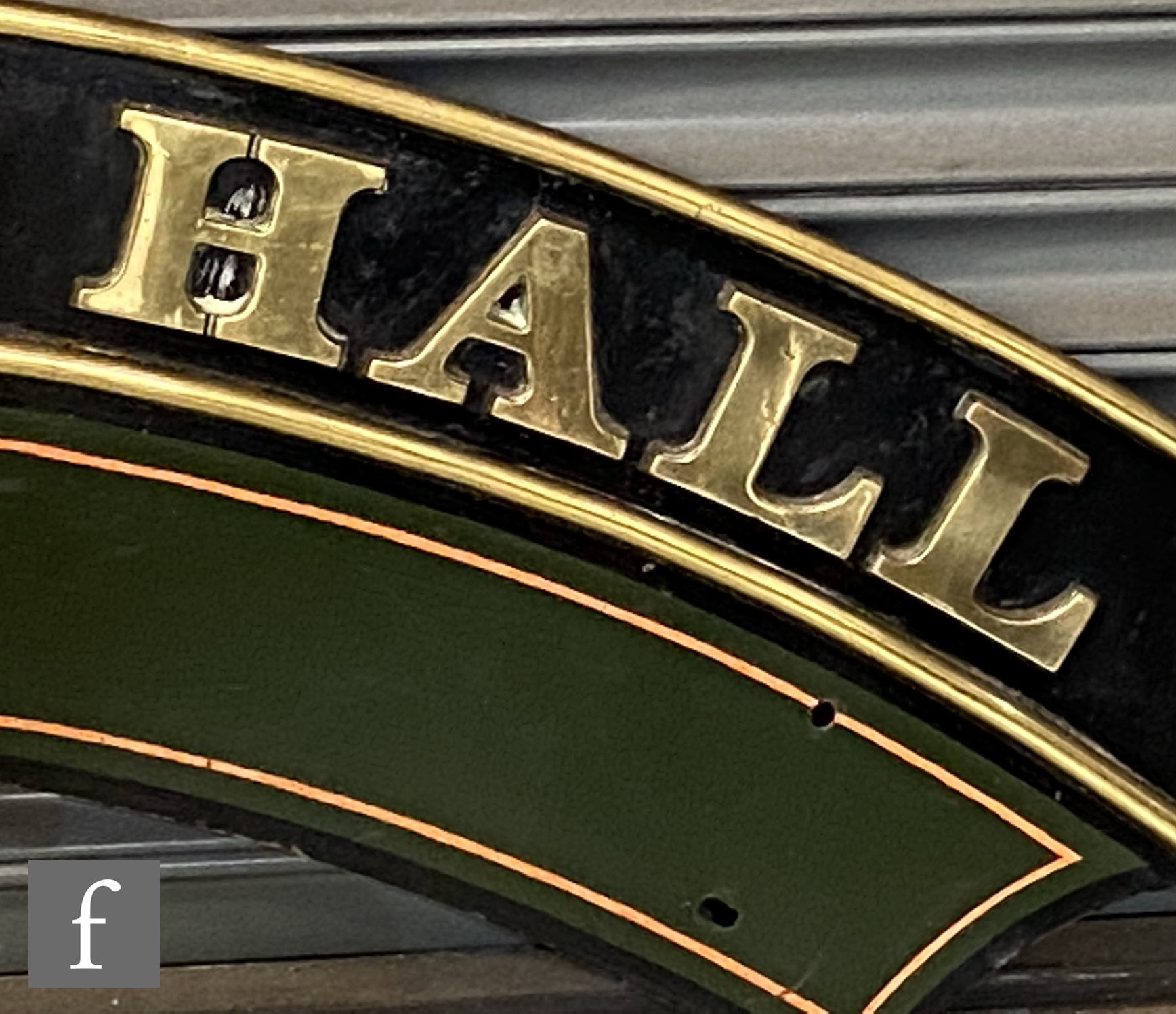 A modified Hall class locomotive brass name plate Parwick Hall, stamped to the rear R 6985 - Image 5 of 8