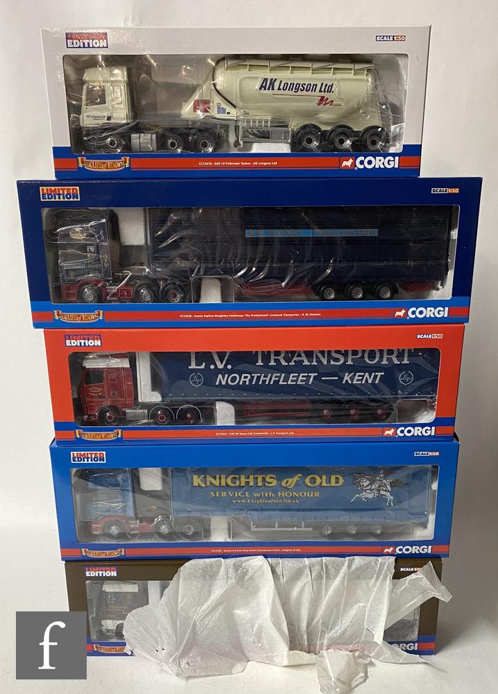 Five Corgi Hauliers of Renown 1:50 scale diecast models comprising CC12928 RW Stewart Scania Topline