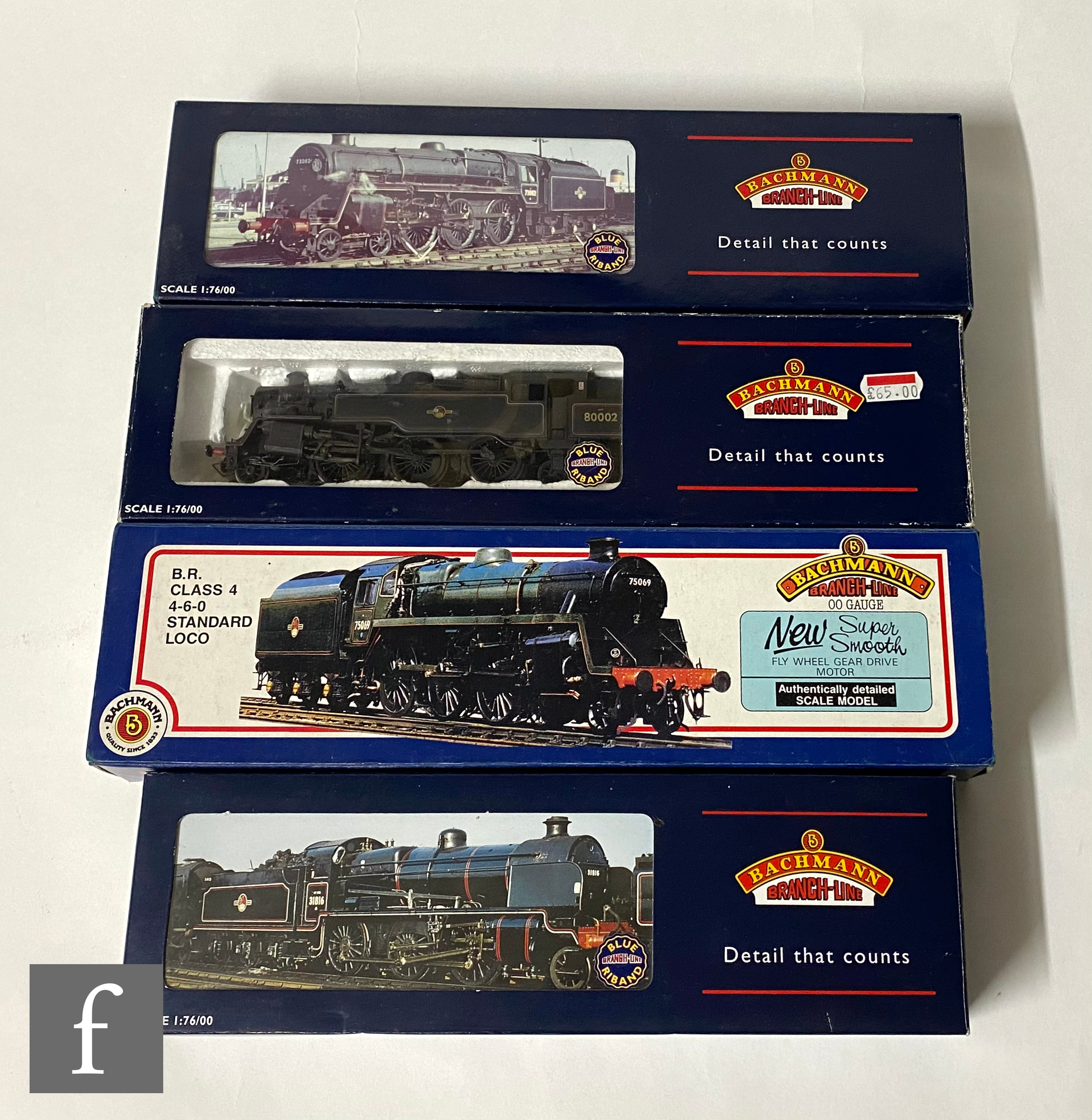 Four OO gauge Bachmann BR locomotives, comprising N Class 2-6-0 black 31860 in incorrect 32-152 box,