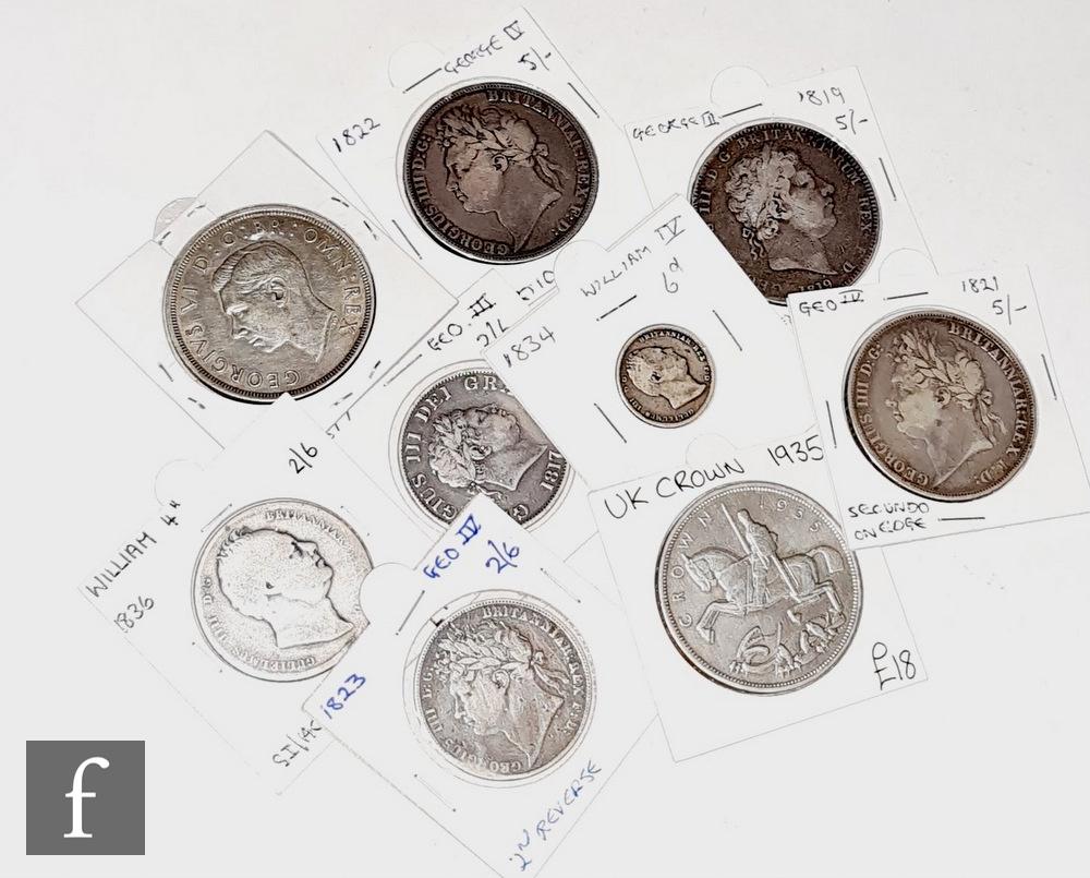 Various George III to George VI crowns 1819, 1822, 1821, 1935, 1937, half crowns 1817, 1823, 1836