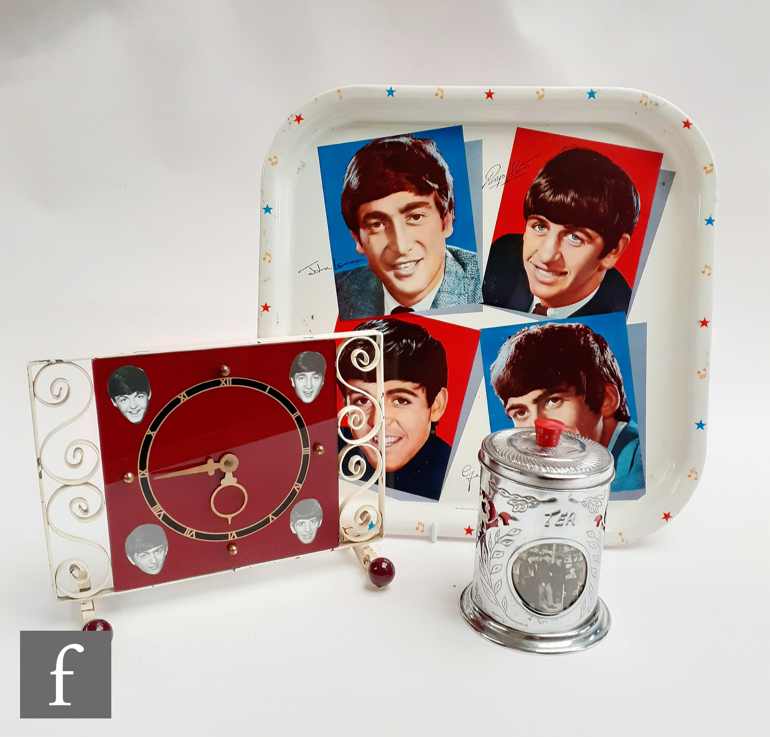 A small group of Beatles collectables, to include an original 1960s Worcester Ware tray, 33cm x